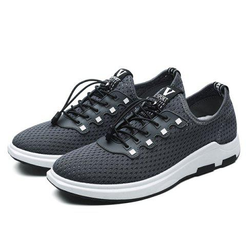 Online String Mesh Casual Shoes - 40 GRAY Mobile