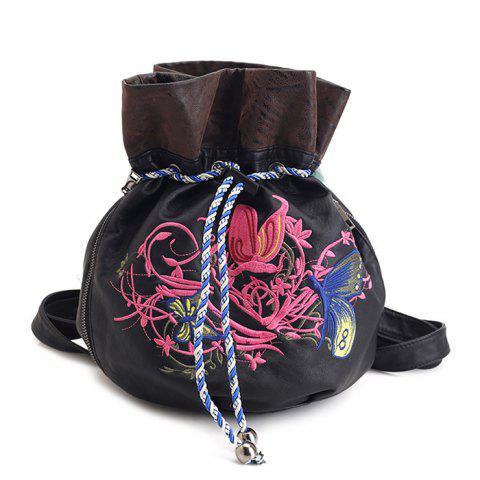 Fashion Drawstring Color Block Embroidery Backpack BLACK