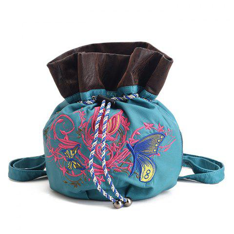 Cheap Drawstring Color Block Embroidery Backpack BLUE