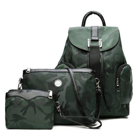 Trendy Drawstring Camo Pattern Backpack Set GREEN