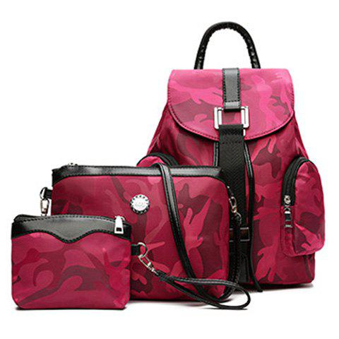 Hot Drawstring Camo Pattern Backpack Set ROSE RED