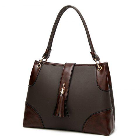Color Block PU Leather Tassel Totes - BROWN