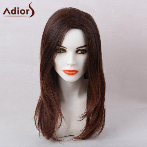 Discount Adiors Straight Long Natural Side Part Synthetic Hair BURGUNDY