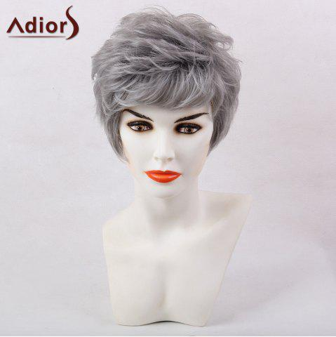 Online Adiors Short Oblique Bang Layered Shaggy Natural Straight Synthetic Wig