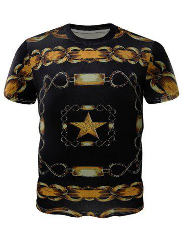 Chains Printed Crew Neck T-Shirt - COLORMIX XL