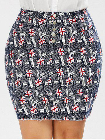 New British Flag Print Plus Size Denim Mini Skirt - 4XL COLORMIX Mobile