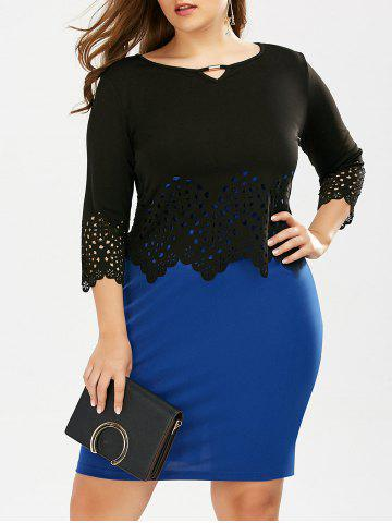 Outfits Plus Size Mini Slip Dress and Cutout Scalloped Top BLUE 2XL