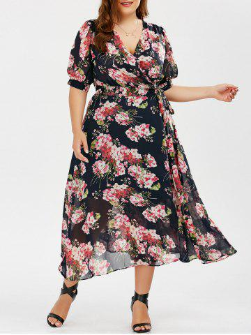 Online Plus Size Maxi Floral Wrap Summer Dress