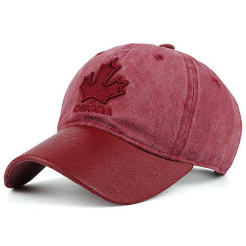 Hot Letters Maple Leaf Embroidery Baseball Cap - RED  Mobile