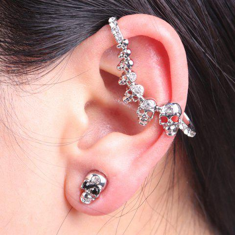 Buy Rhinestone Skulls Ear Cuff with Stud Earring