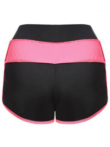 Outfit Mini Color Block Running Shorts - L PEACH RED Mobile