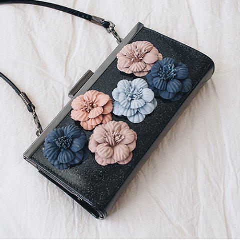 Outfit Flowers Metal Bar Sequined Evening Bag - BLACK  Mobile