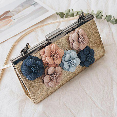 New Flowers Metal Bar Sequined Evening Bag GOLDEN