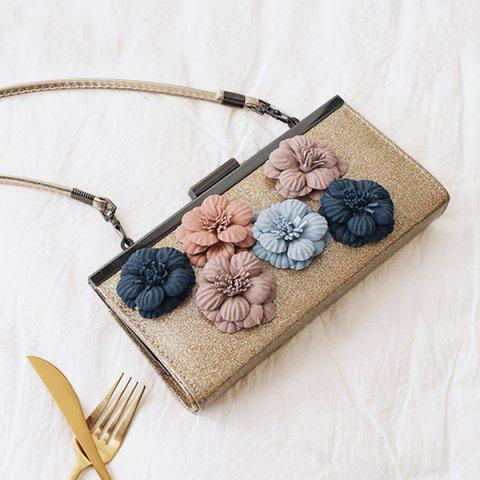 Outfit Flowers Metal Bar Sequined Evening Bag - GOLDEN  Mobile