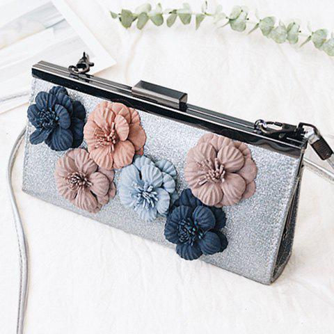Fleurs Metal Bar Sequined Evening Bag
