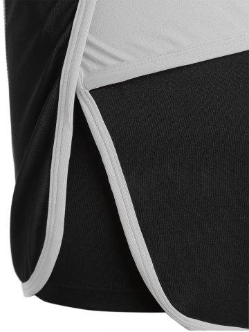 Trendy Mini Color Block Running Shorts - GRAY M Mobile