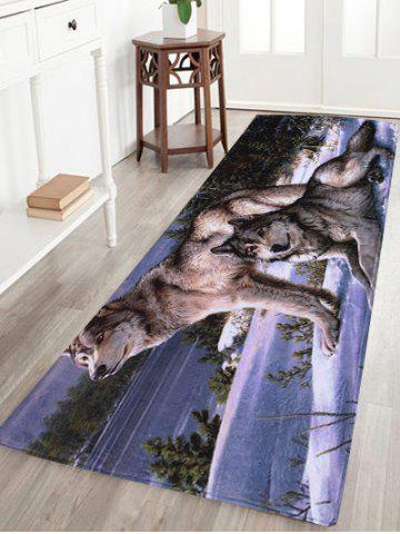 Coral Velvet Wolf Animal Large Area Rug - W16 Inch * L47 Inch