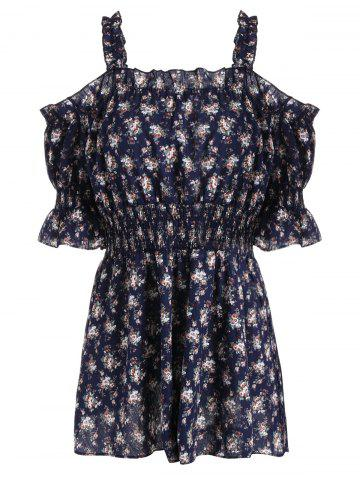 Plus Size Floral Off The Shoulder Mini Dress - Purplish Blue - 3xl