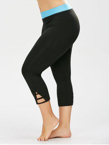 New Two Tone Cropped Plus Size Workout Leggings BLACK 2XL