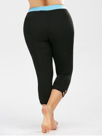 Best Two Tone Cropped Plus Size Workout Leggings - 3XL BLACK Mobile