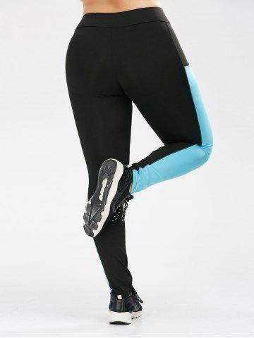 Outfits Plus Size Two Tone Sporty Leggings with Pocket - XL BLACK Mobile