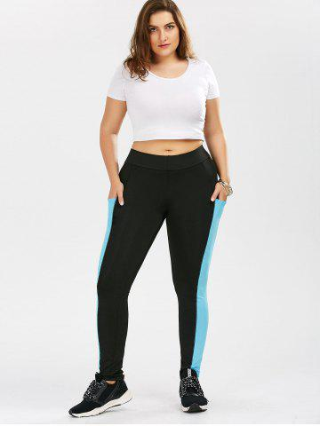 New Plus Size Two Tone Sporty Leggings with Pocket - XL BLACK Mobile