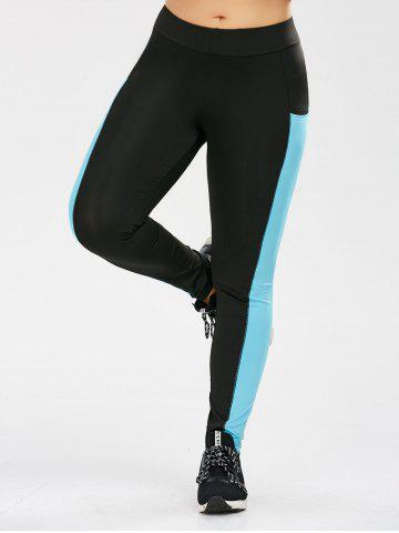 Discount Plus Size Two Tone Sporty Leggings with Pocket - XL BLACK Mobile