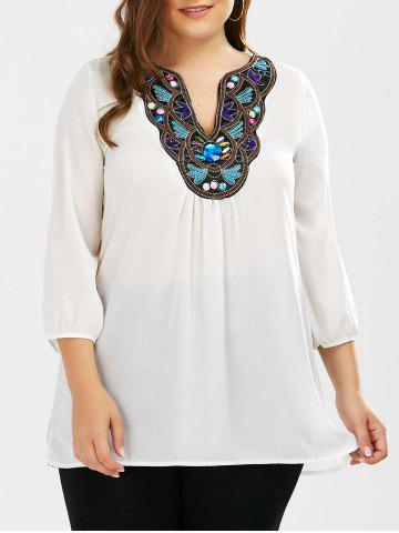 Affordable Plus Size Embroidered Rhinestone Tunic Blouse