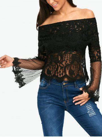 Flare Sleeve Mesh Panel Lace Blouse - Black - Xl