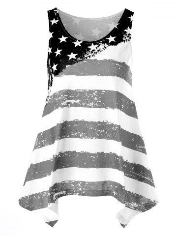 Distressed American Flag Asymmetrical Tank Top
