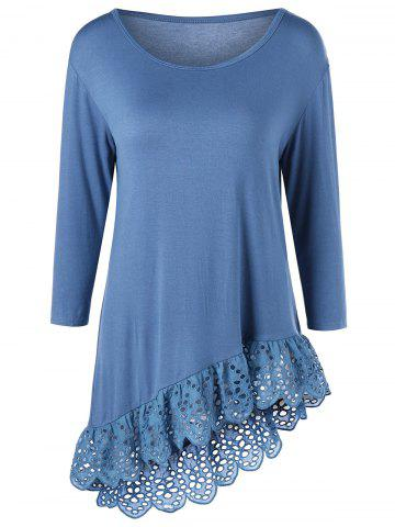 Shops Broderie Openwork Scalloped Edge Asymmetrical T-Shirt - 2XL BLUE Mobile