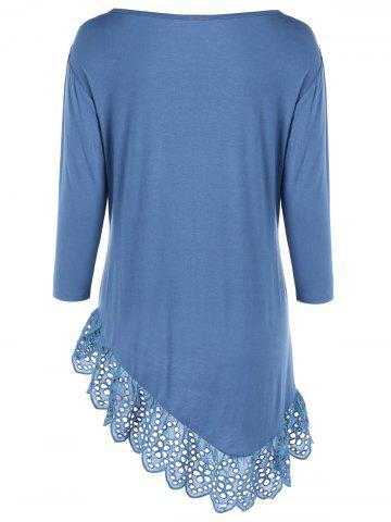 Outfit Broderie Openwork Scalloped Edge Asymmetrical T-Shirt - 2XL BLUE Mobile