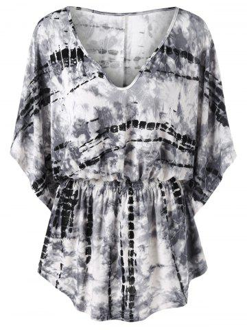 Buy Tie Dye Smocked Waist T-Shirt - 2XL WHITE AND BLACK Mobile