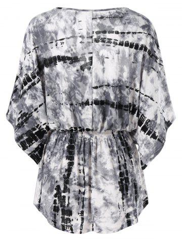Unique Tie Dye Smocked Waist T-Shirt - 2XL WHITE AND BLACK Mobile