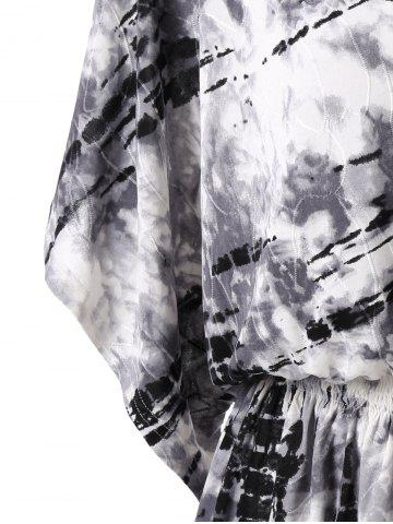 Shops Tie Dye Smocked Waist T-Shirt - 2XL WHITE AND BLACK Mobile