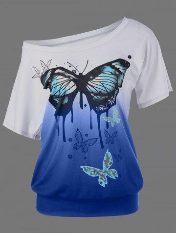 Shop Butterfly Pattern Ombre T-Shirt