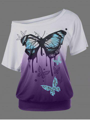 Latest Butterfly Pattern Ombre T-Shirt