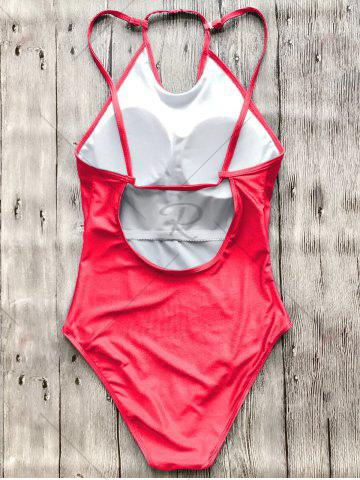 Trendy Open Back High Neck Swimsuit - S RED Mobile