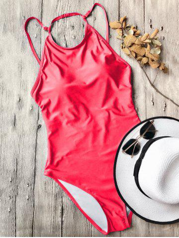 Latest Open Back High Neck Swimsuit - S RED Mobile