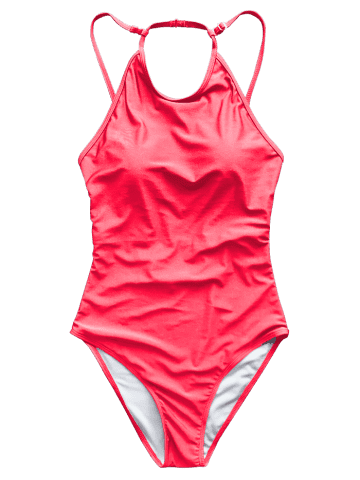 New Open Back High Neck Swimsuit - S RED Mobile