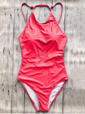 Affordable Open Back High Neck Swimsuit - S RED Mobile