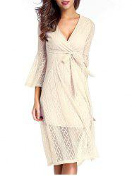 Surplice Lace Swing A Line Dress - NUDE