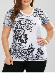 Plus Size  Floral Bandana Printed V Neck T-Shirt