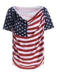 Lace Panel Distressed American Flag T-Shirt