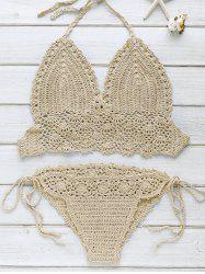 Halter Strappy Handwork Crochet Bathing Suit