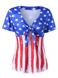 Empire Waist American Flag V Neck T-Shirt -