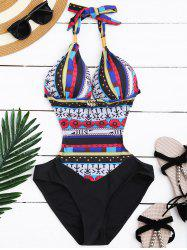 Sexy Halter Hollow Out Printed Monokini One-Piece Swimwear