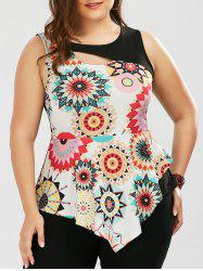 Sleeveless Asymmetric Plus Size Peplum T-Shirt