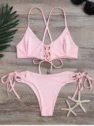 Spaghetti Strap Criss-Cross Lace-Up Bikini Set