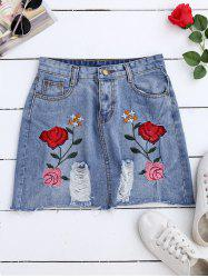 Rose Embroideried A Line Ripped Jean Skirt - DENIM BLUE